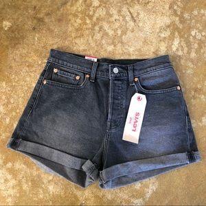 NWT Levi's Wedgie High Rise Black Jean Shorts